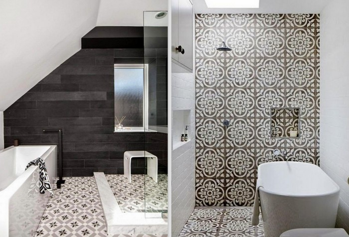 Decorative Tiles Add Character And Depth To These Modern Bathrooms. Image  Source Left: MHouse Inc. Image Source Right: Photography Sean Fennessy, ...